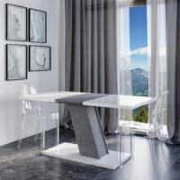 KROSS глянцевый кухонный стол на одной наклонной ножке